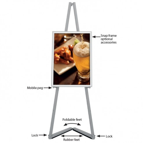 Feature packed portable display easel - Optional poster frame