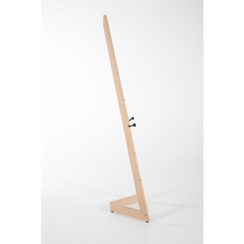 Side profile of portable wooden easel