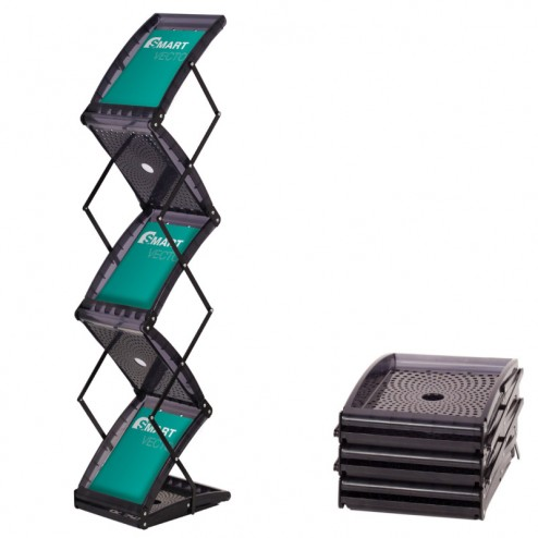 Portbale folding literature rack in black