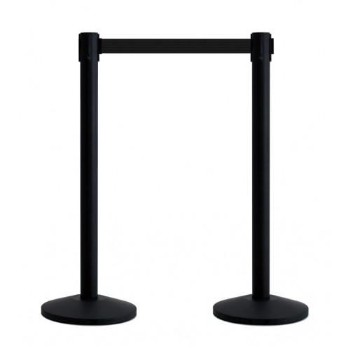Black crowd control barriers