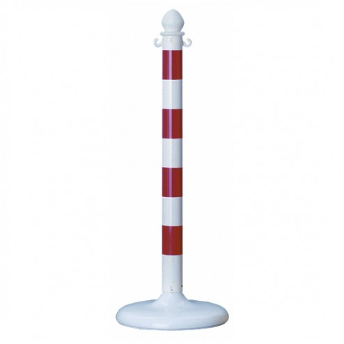 Red and White Striped Plastic Post
