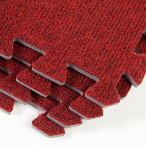 Red Interlocking carpet tiles