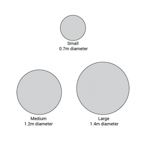 Round pop up banner - Dimensions