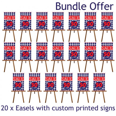 20 wooden easels with custom printed signs