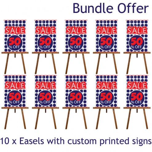 10 display easels with printed signs