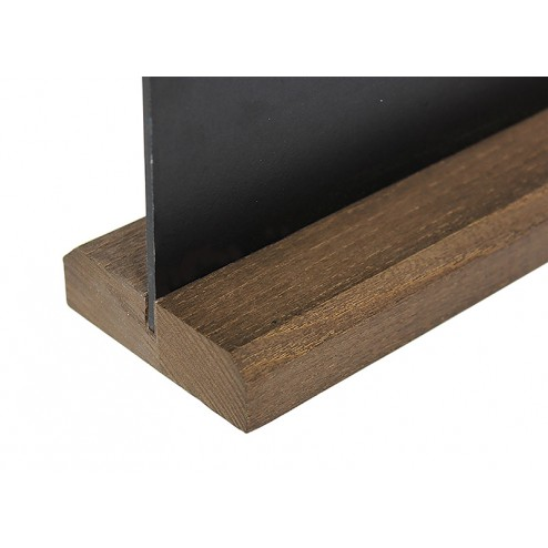 Dark stain hardwood table top chalk board holder