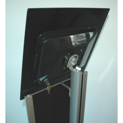 Lockable tablet display holder