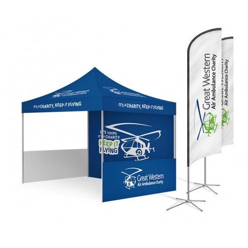 Printed event tent with feather flags