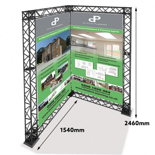 L shaped trade show gantry - Measurements