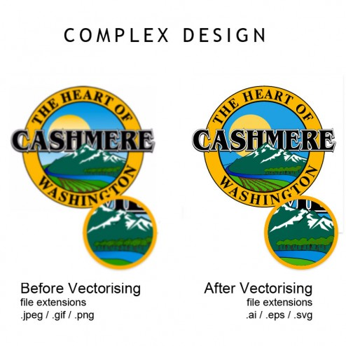 Example of a complex design before and after vectorising
