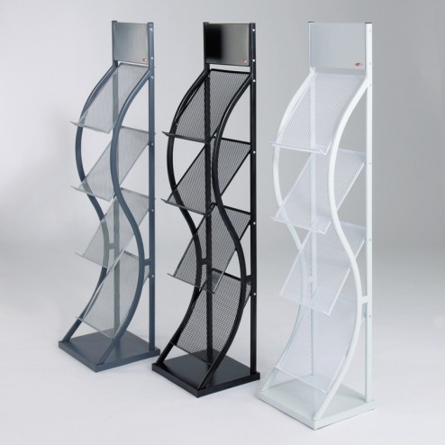 Wave Freestanding Leaflet Dispenser - available in 3 colours