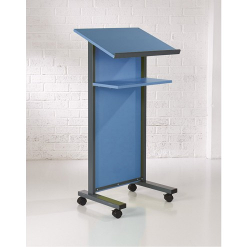 Blue wheeled lectern