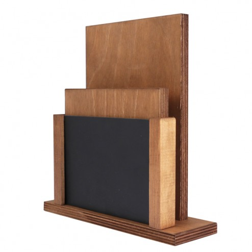 Wooden Table Menu Holder Chalk Board