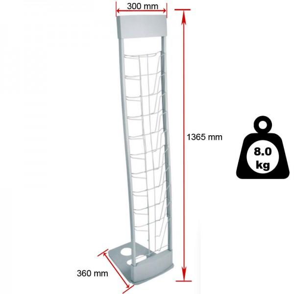 Literature rack dimensions