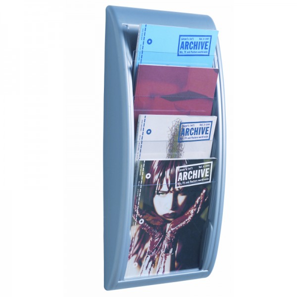 A4 Wall Mounted Brochure Holder - Silver