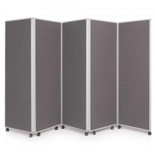 1500mm High Folding Office Partitioning Divider - Gunmetal Grey