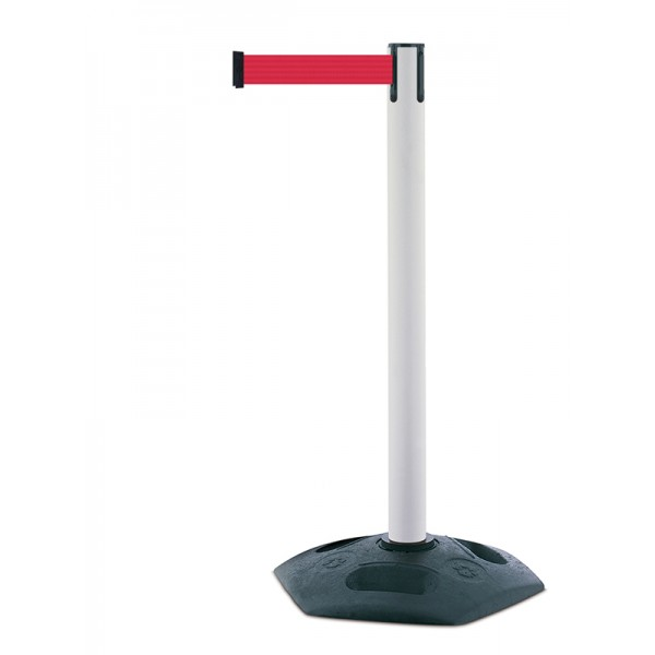 White Tensator Retractable Barrier