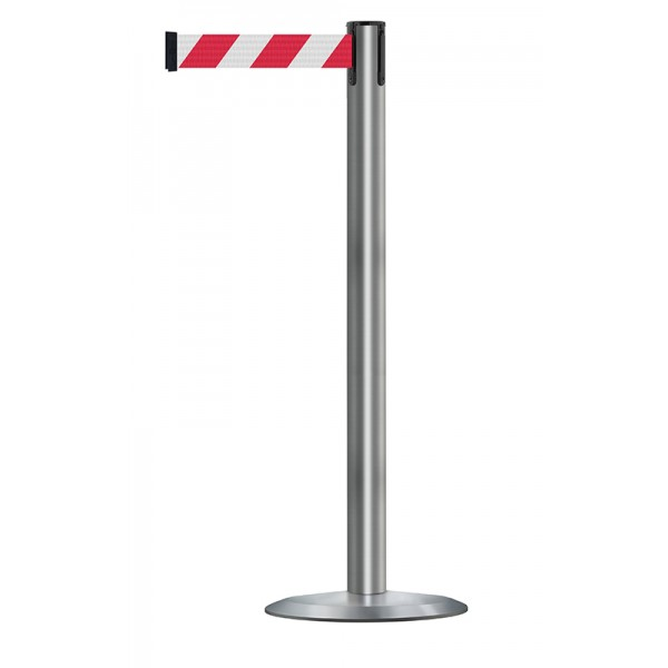 Brushed Stainless Steel Post - Red / White Chevrons