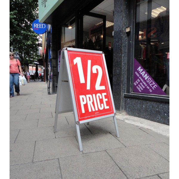 Silver Double Sided Poster Sign Holders in-situ