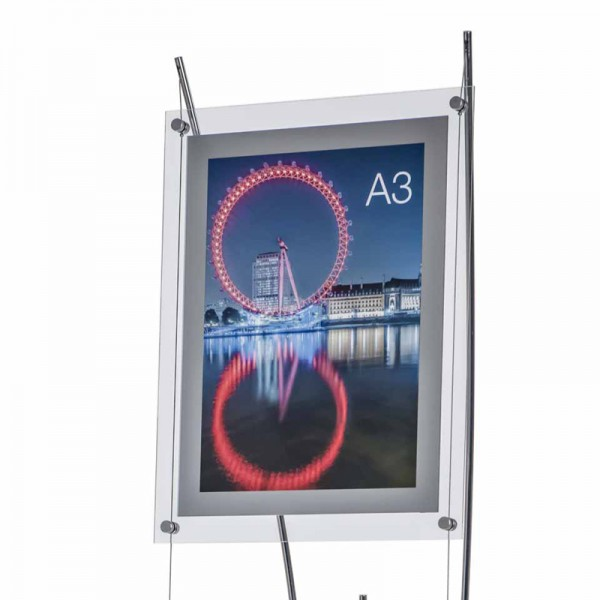 Free standing cable poster holder