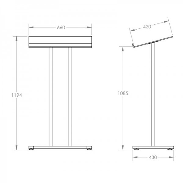 Acrylic & Metal Podium Dimensions
