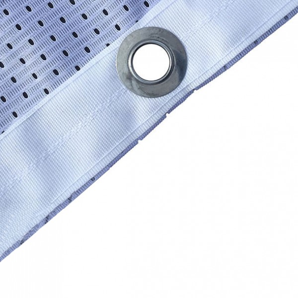 110 gsm polyester with hemmed edges & eyelets
