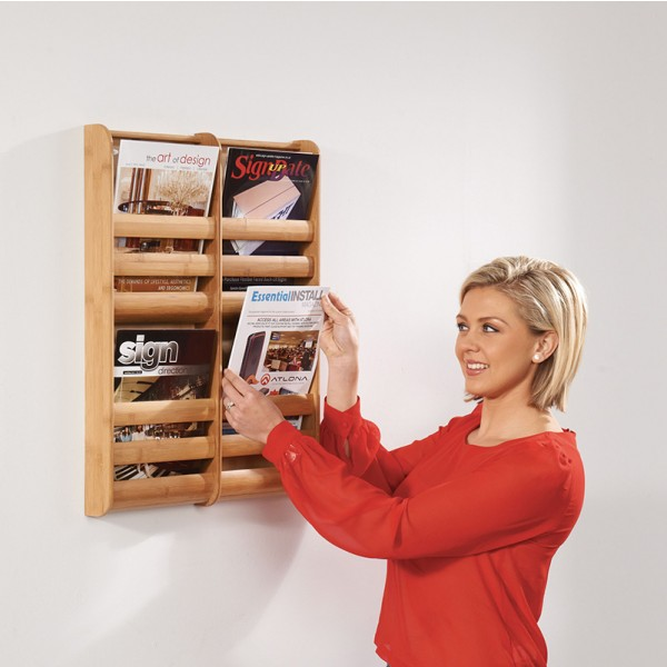 Bamboo Wall Mounted Leaflet Holder