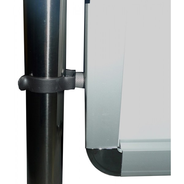 Attaches easily to stanchion or barrier