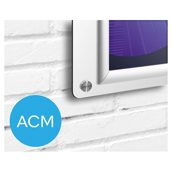Clean design ACM backed board with stand off wall fixings