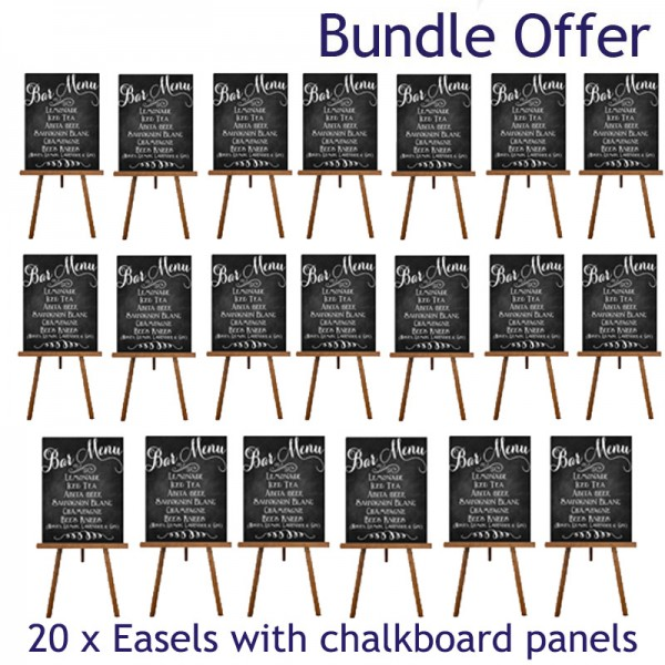 20 plain chalkboard panels and wooden easel