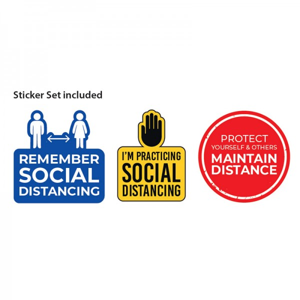 Social distancing sticker set included