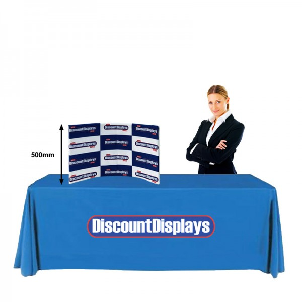 Size comparison of the desktop pop up display with a 6ft exhibition table