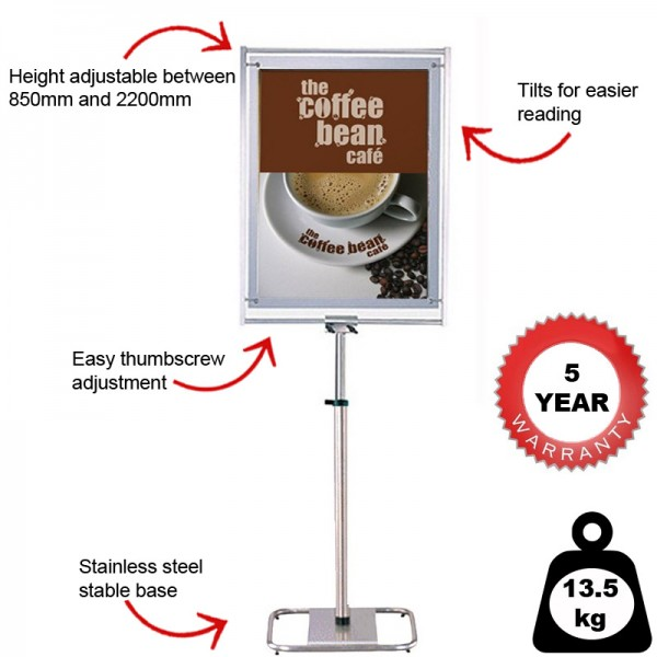 Freestanding height adjustable sign holder