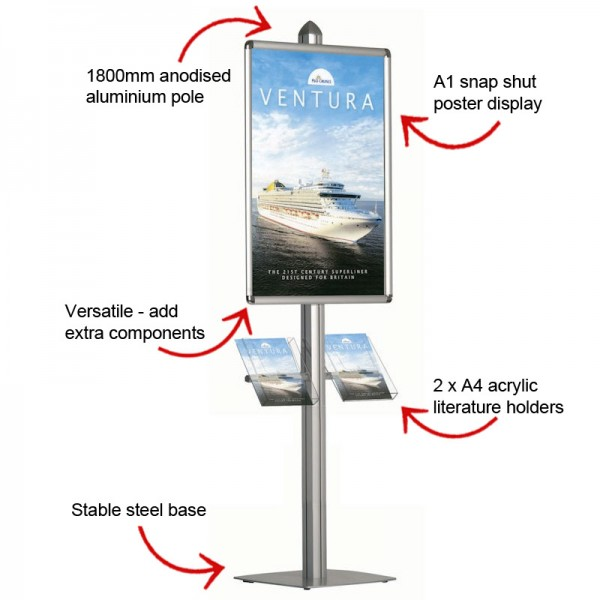 Poster display stand with literature holders