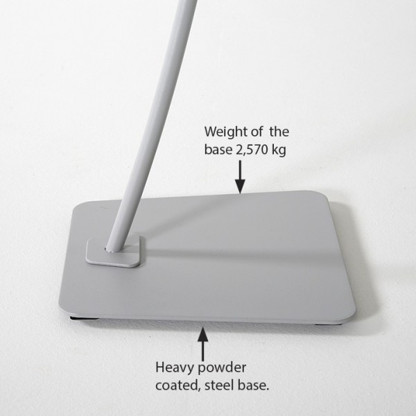 Sturdy base holds stand in place