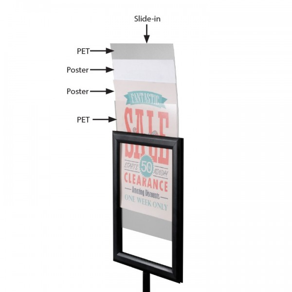 Height adjustable double sided A4 poster holder