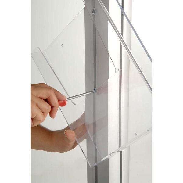 Easily attach Acrylic brochure pocket to Dynamic Display