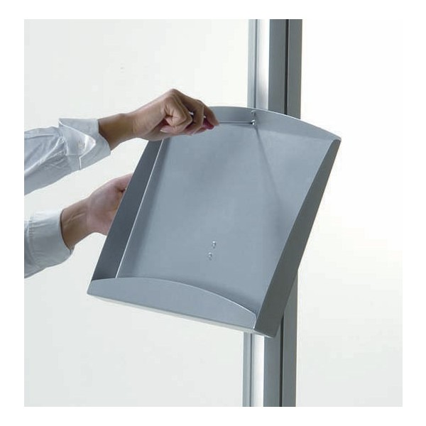 Steel brochure holder shelf