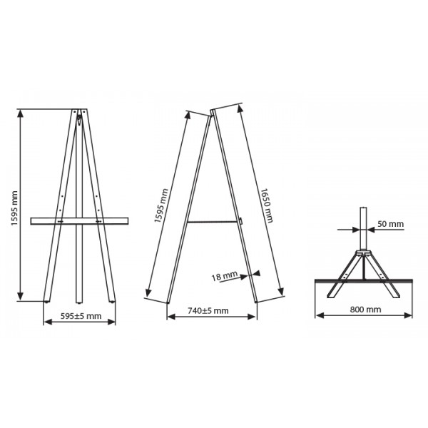 Wooden display easel dimensions