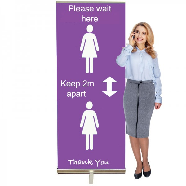 Keep 2m Apart Banner Stand - 845 or 1000mm Wide