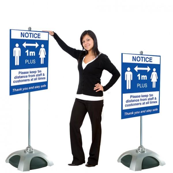 Social Distancing Sign Holder - 1m / 2m Apart Design or Upload Your Artwork