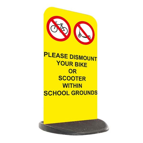 School Economy Pavement Sign - Please Dismount Bike or Scooter