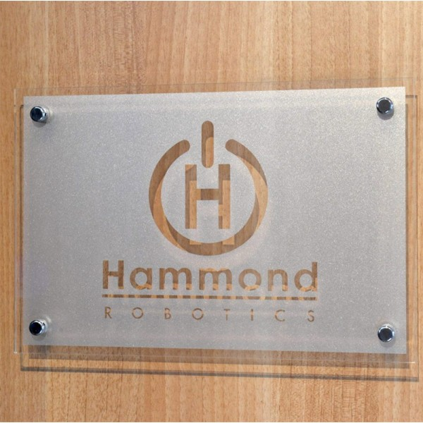 Clear Acrylic sign with frosted vinyl graphic
