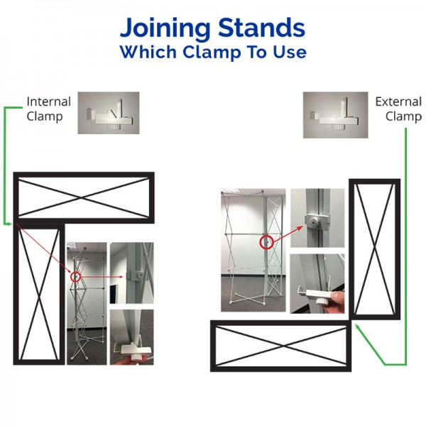 Join stands together with clamps (sold separately)