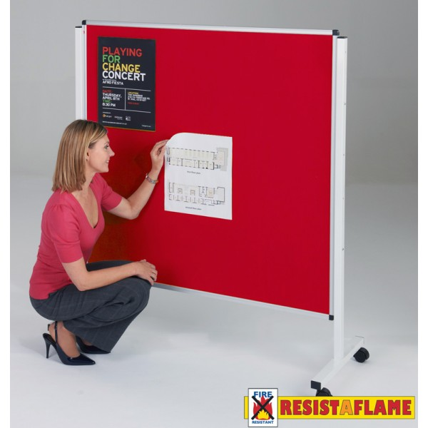 Fire resistant double sided mobile noticeboard