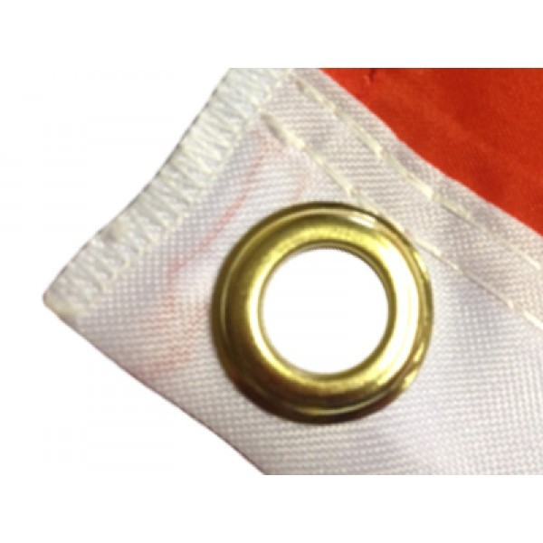Printed flag with eyelets
