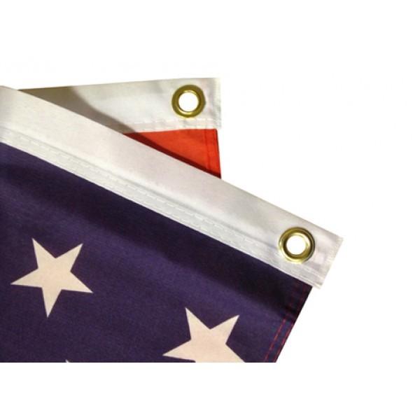 Flag with sewn hems