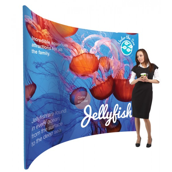Curved fabric display stand
