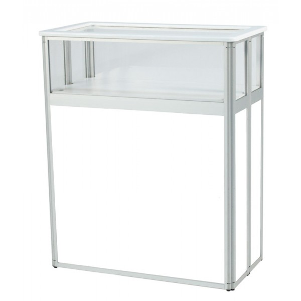 Folding exhibition display cabinet with blank panels