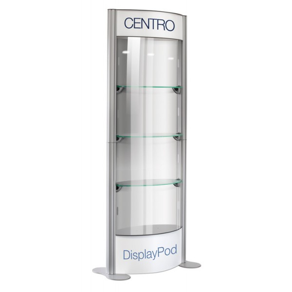 Display Pod Cabinet with Printed Header and Base (each unit is supplied with 8 clear panels )